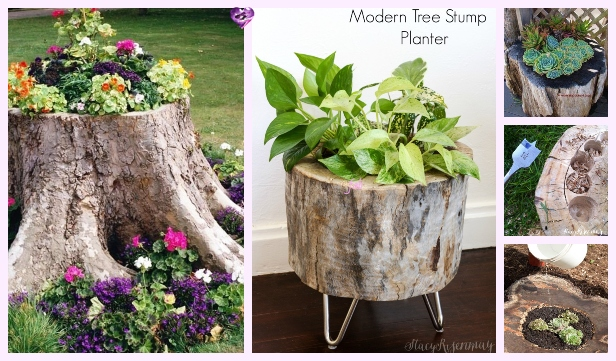 DIY Tree Stump Planters Tutorial – Video Included