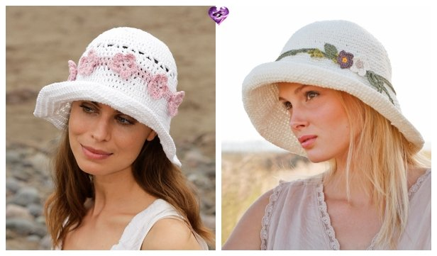 Crochet Women Flower Summer Sun Hat Crochet Free Patterns
