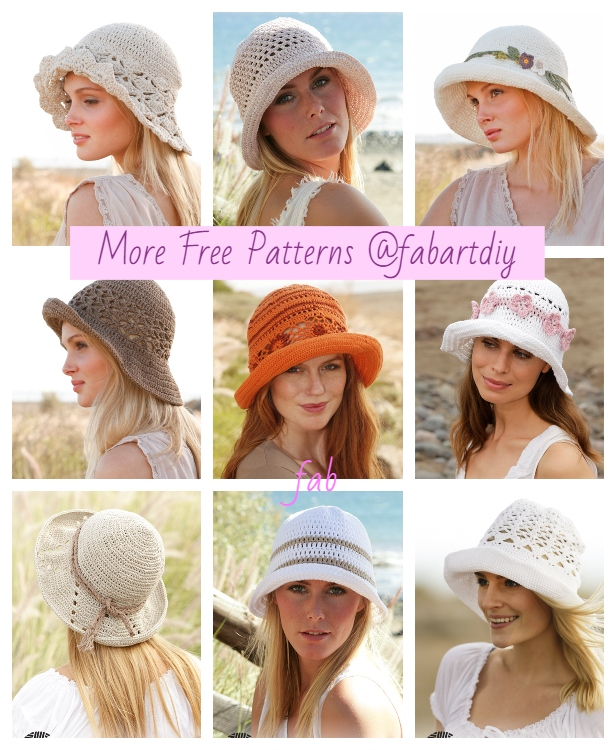 Top Vintage Crochet Women Summer Sun Hat Crochet Free Patterns