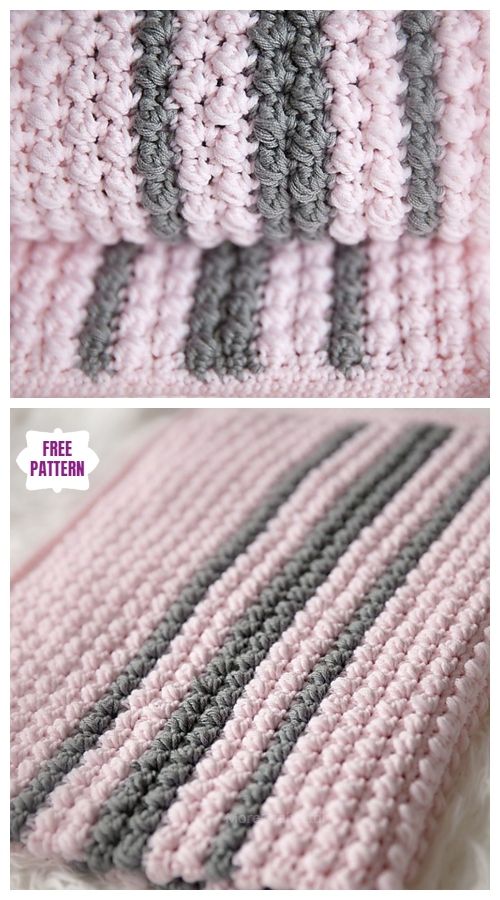 Crochet Bobbles and Stripes Baby Blanket Free Crochet Pattern