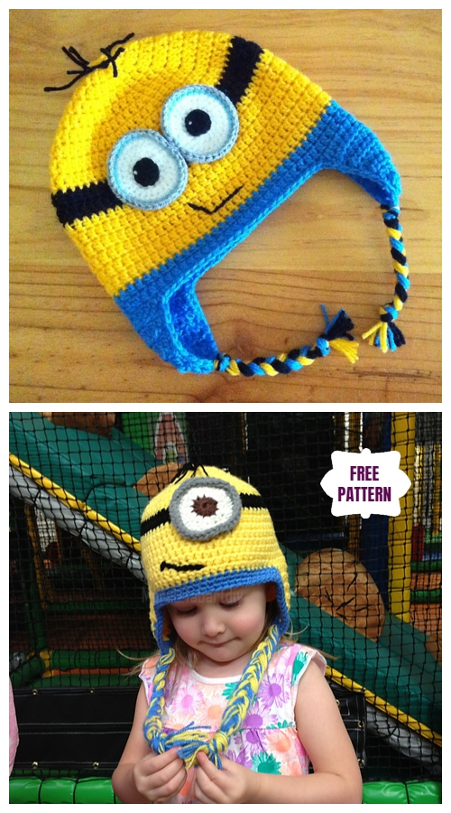 DIY Crochet Minion Earflap Hat free Crochet Pattern