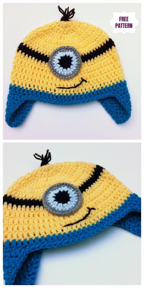 DIYCrochetOne Eye Goggles Minion Hat free Crochet Pattern