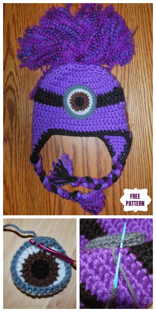 DIYCrochetEvil Minion Ear Flap Hatfree Crochet Pattern
