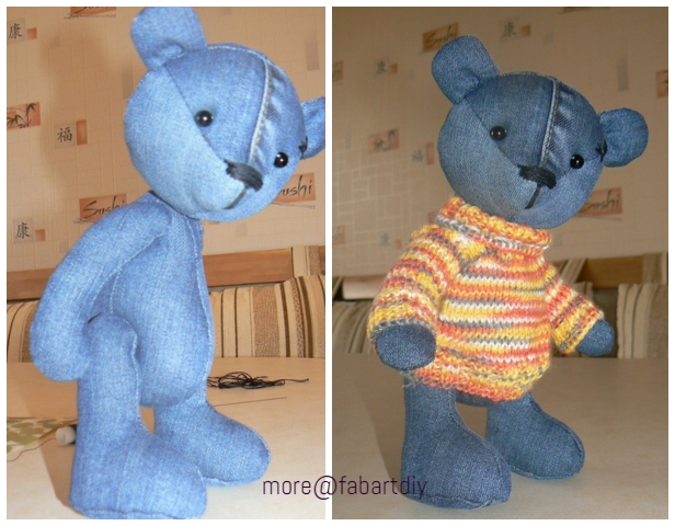 DIY Cute Jean Teddy Bear Free Sew Pattern & Template