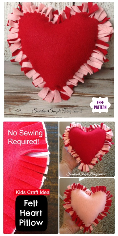 DIY No Sew Heart Pillow, perfect for Valentine's day - video