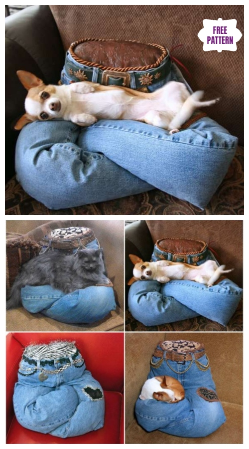 DIY Portable No Sew Recycled Jean Pet Pillow Tutorial