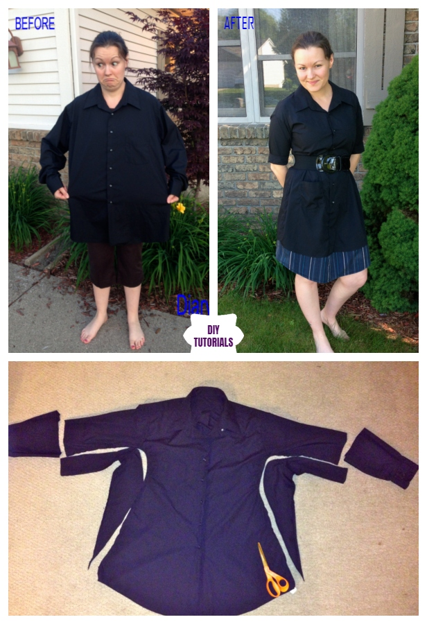 Creative Ideas to Repurpose Old Shirts into New Fashion - Turn Men's Dress Shirt to LBD Refashion