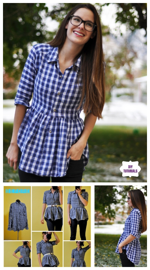 Creative Ideas to Repurpose Old Shirts into New Fashion - Turn men shirt into peplum Top Tutorial