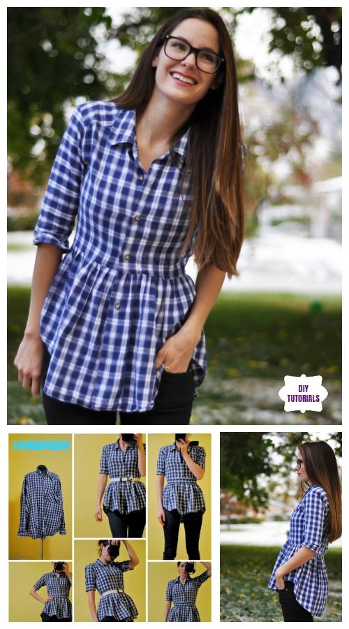 Creative Ideas to Repurpose Old Shirts into New Fashion - Turn men shirt into peplum Top Tutorial