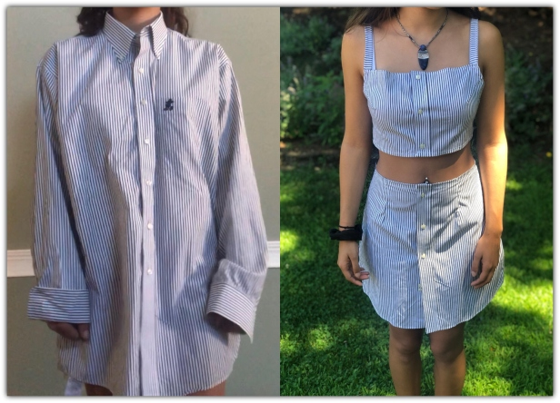 Creative Ideas to Repurpose Old Shirts into New Fashion - Turn Men's Dress Shirt to 2 Piece Summer Outfit