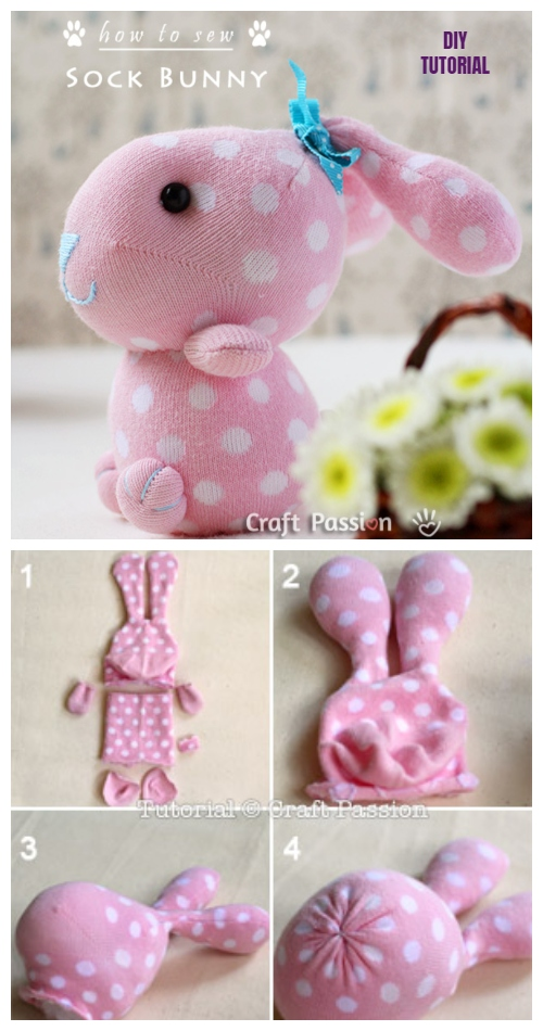 DIY Cute Sock Bunny Free Sew Pattern & Tutorial