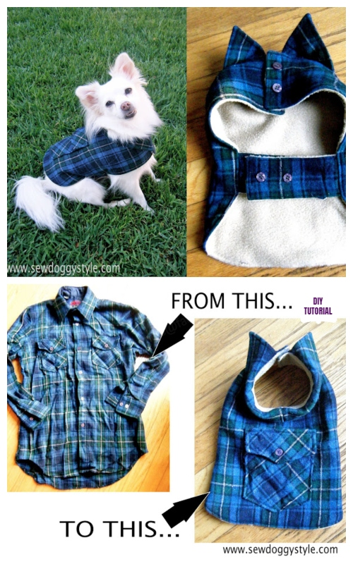 DIY Recycled Shirt Pet Coat Free Sew Patterns & Tutorials