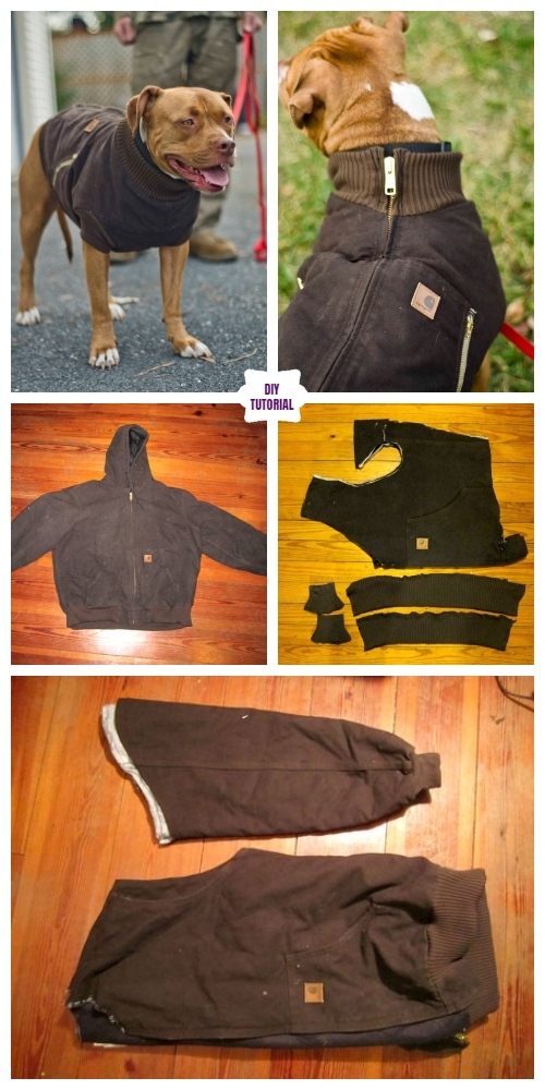 DIY Recycled Jacket Pet Coat Free Sew Patterns & Tutorials