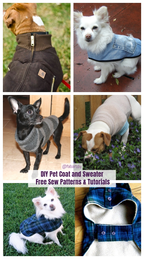 DIY Pet Coat and Sweater Free Sew Patterns & Tutorials
