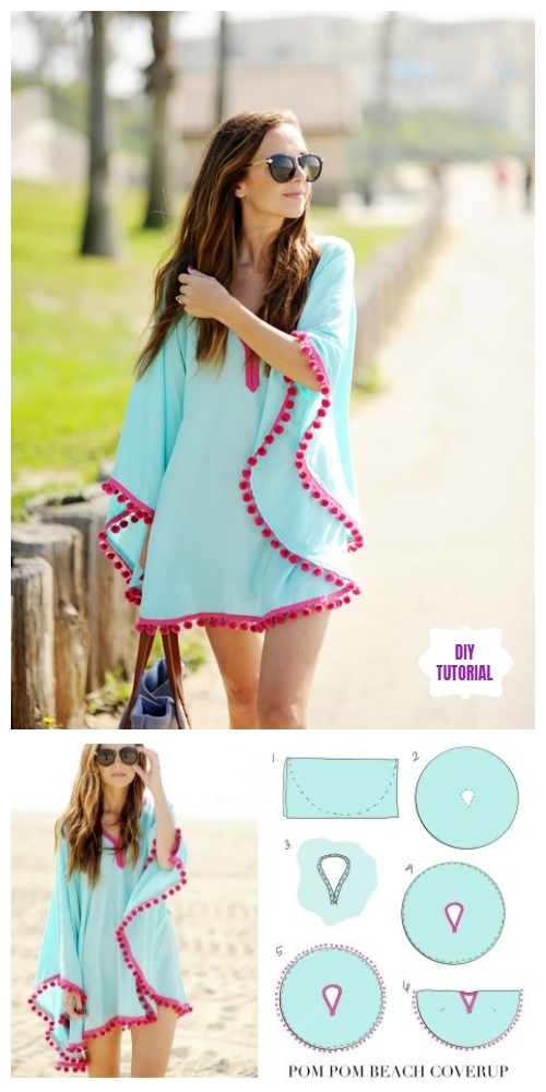 DIY Pom Pom Trim Beach Coverup Free Sew Pattern