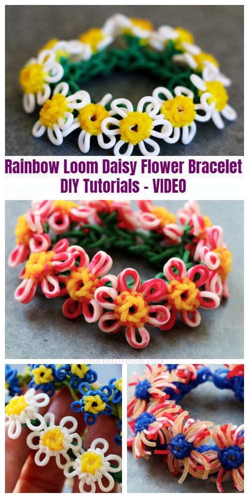 DIY Rainbow Loom Daisy Flower Bracelet Tutorials - Video