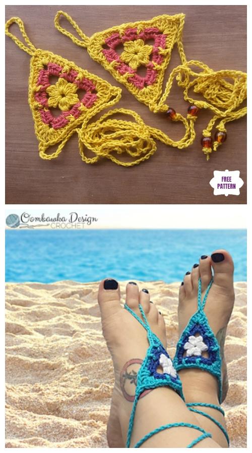 Crochet Beach Day Barefoot Sandals Free Crochet Pattern