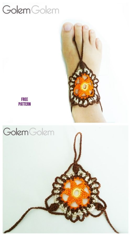 Crochet Easy Flower Barefoot Sandals Free Crochet Pattern