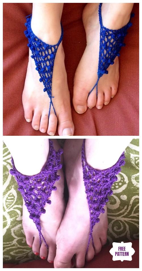 Crochet Clones Knot Barefoot Sandals Free Crochet Pattern
