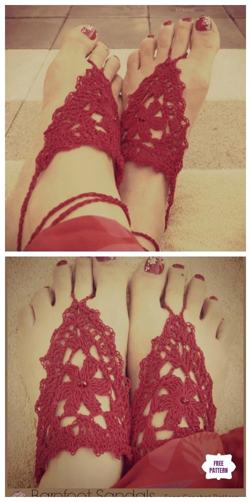 Crochet Lace Flower Barefoot Sandals Free Crochet Pattern