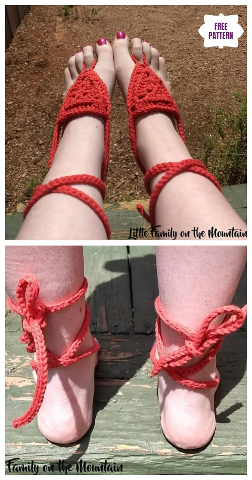 Crochet Basic Barefoot Sandals Free Crochet Pattern