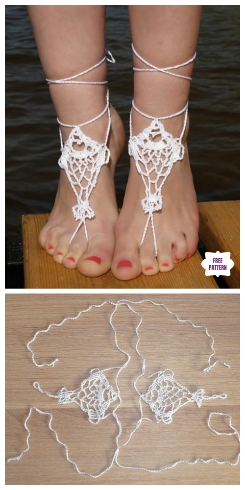 Crochet Fish Barefoot Sandals Free Crochet Pattern