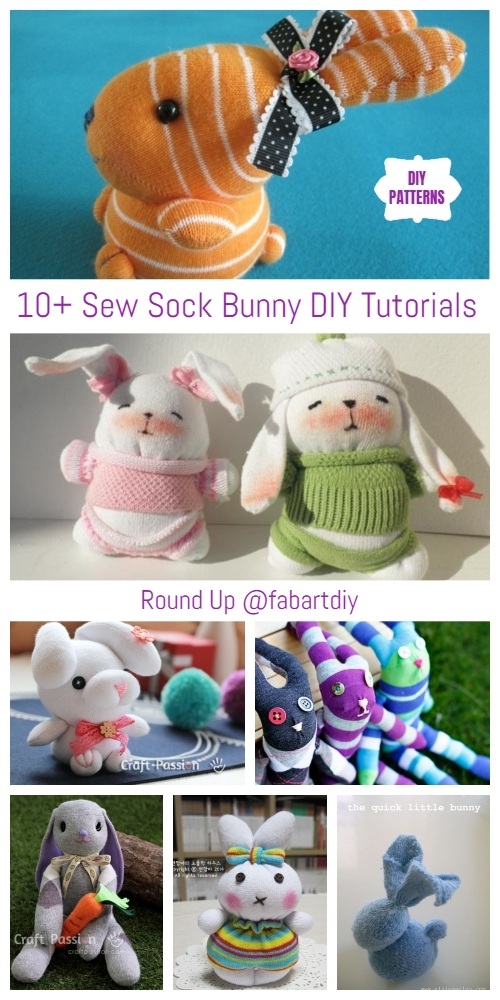 Easter Crafts - 10+ Sew Sock Bunny DIY Tutorials Round Up