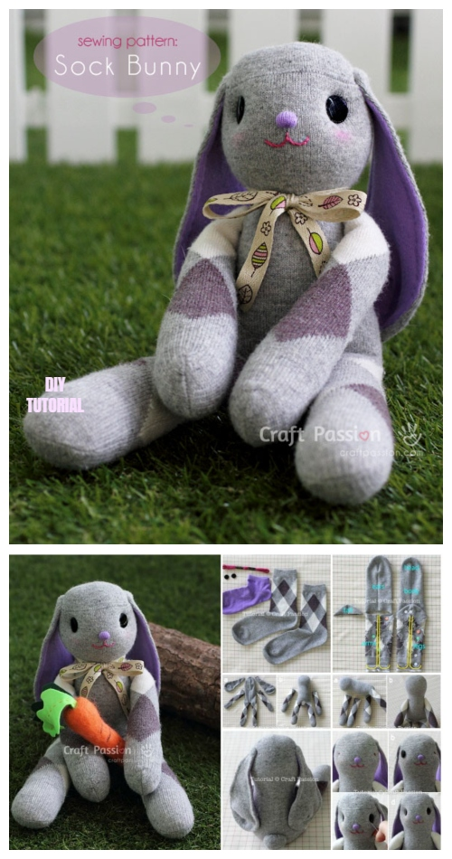 10+ Sew Sock Bunny DIY Tutorials Round Up - Long Ear Sock Bunny DIY Tutorial