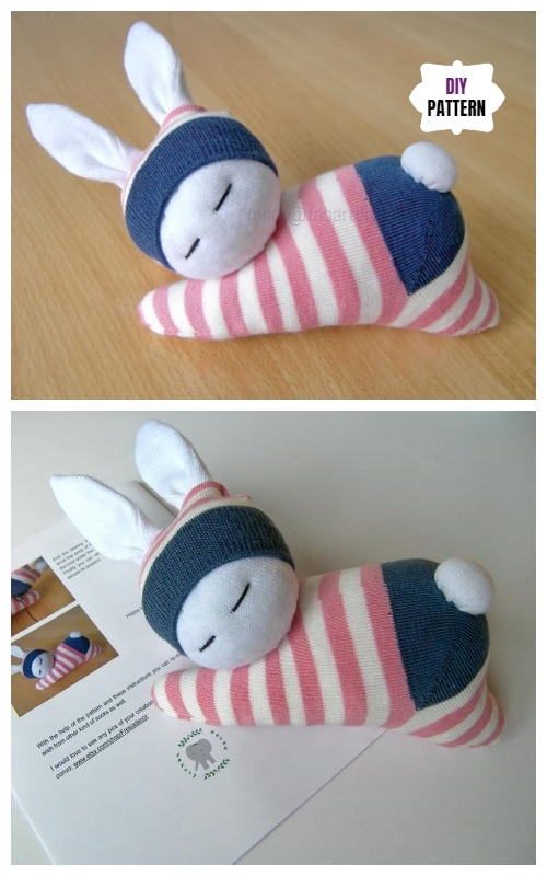 10+ Sew Sock Bunny DIY Tutorials Round Up - Baby Sock Bunny DIY Tutorial