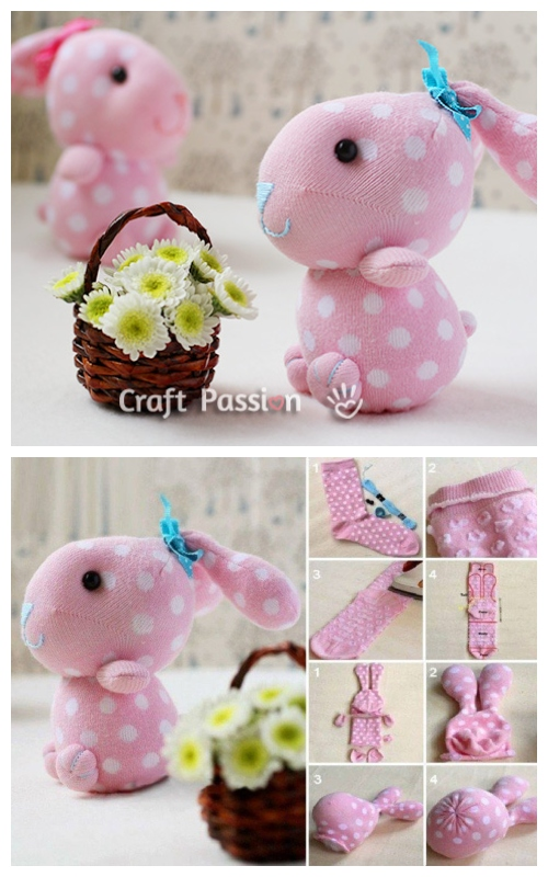 10+ Sew Sock Bunny DIY Tutorials Round Up - Cute Sock Bunny DIY Tutorial