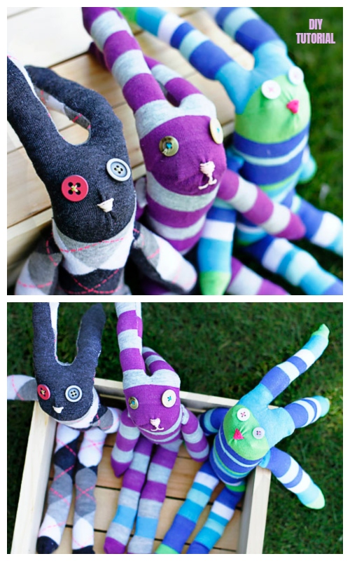 10+ Sew Sock Bunny DIY Tutorials Round Up - Knee high Sock Bunny DIY Tutorial