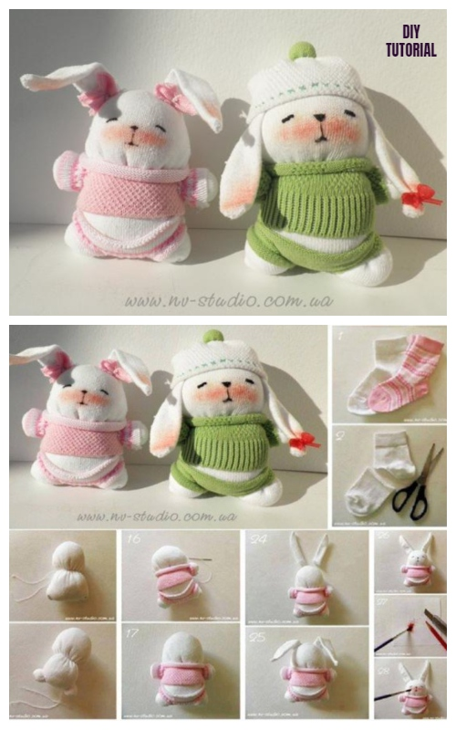 10+ Sew Sock Bunny DIY Tutorials Round Up - Cute Sock Bunny Couple DIY Tutorial