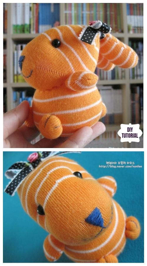 10+ Sew Sock Bunny DIY Tutorials Round Up - Cute Bow Sock Bunny DIY Tutorial