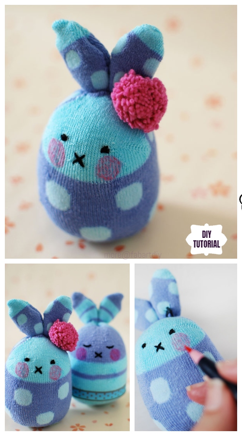 10+ Sew Sock Bunny DIY Tutorials Round Up - Easter Egg Sock Bunny DIY Tutorial