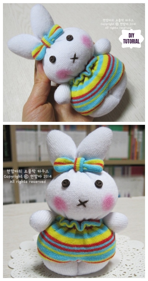 10+ Sew Sock Bunny DIY Tutorials Round Up - Rainbow Sock Bunny DIY Tutorial