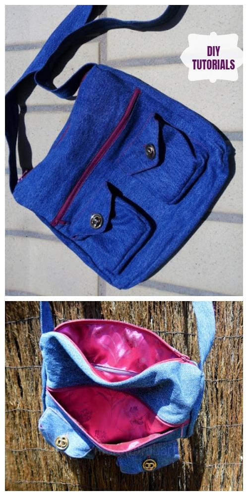 DIY Recycled Denim Jean Lesa Bag With Storage Pockets Tutorial