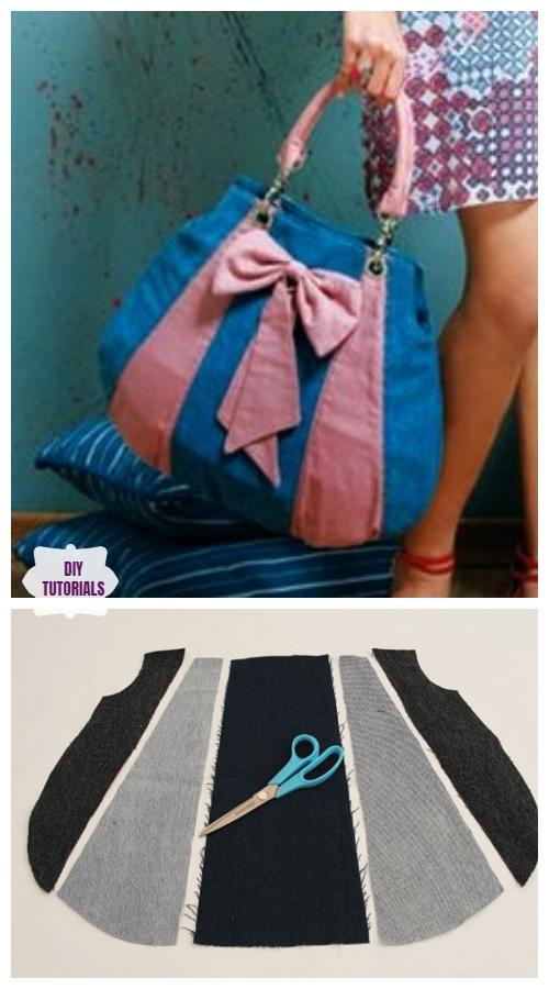 DIY Recycled Big Bow Jean Bag Tutorial