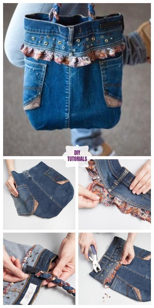 DIY Ruffled Jean Bag Tutorial