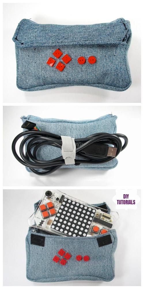 DIY Recycled Denim Electronic Gadget Bag Tutorial