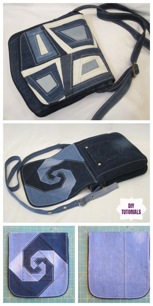 DIY Recycled Denim bag with patchwork flap Tutorial