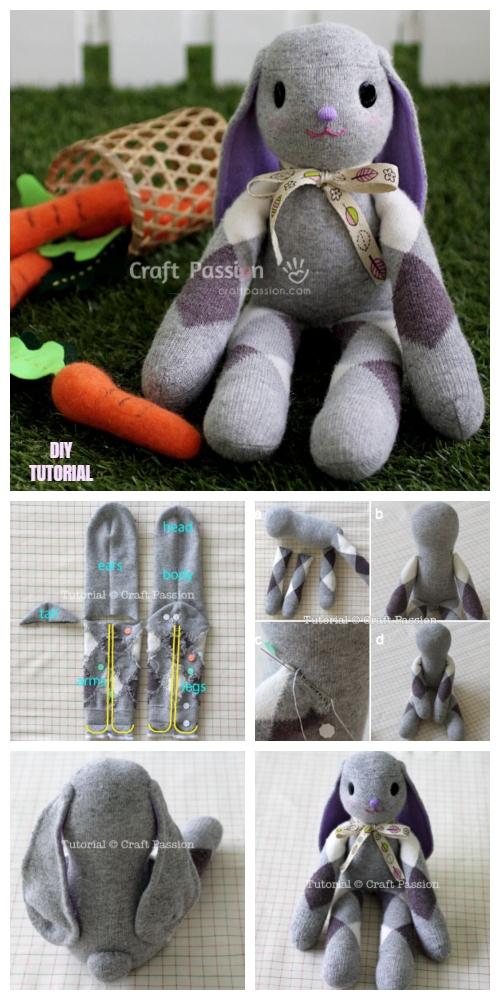 DIY Adorable Long Ear Sock Bunny Free Sew Pattern & Tutorial