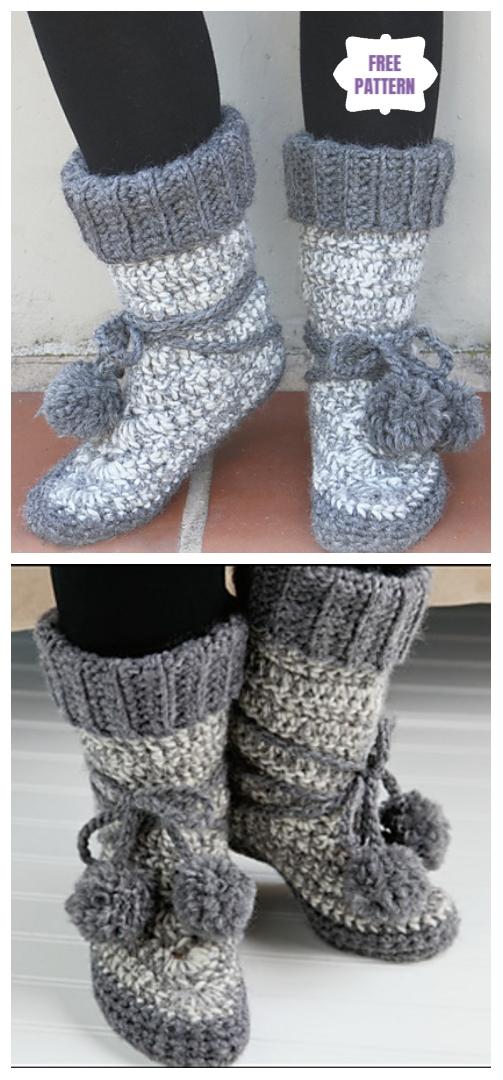 DIY Crochet Adult Slippers Pattern Round Up- Crochet Women Eskimo Slipper Boots Free Pattern