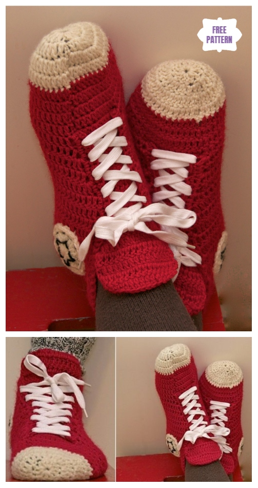 a390d6f97b85 DIY Crochet Adult Slippers Pattern Round Up- Crochet Converse Slippers Free  Pattern