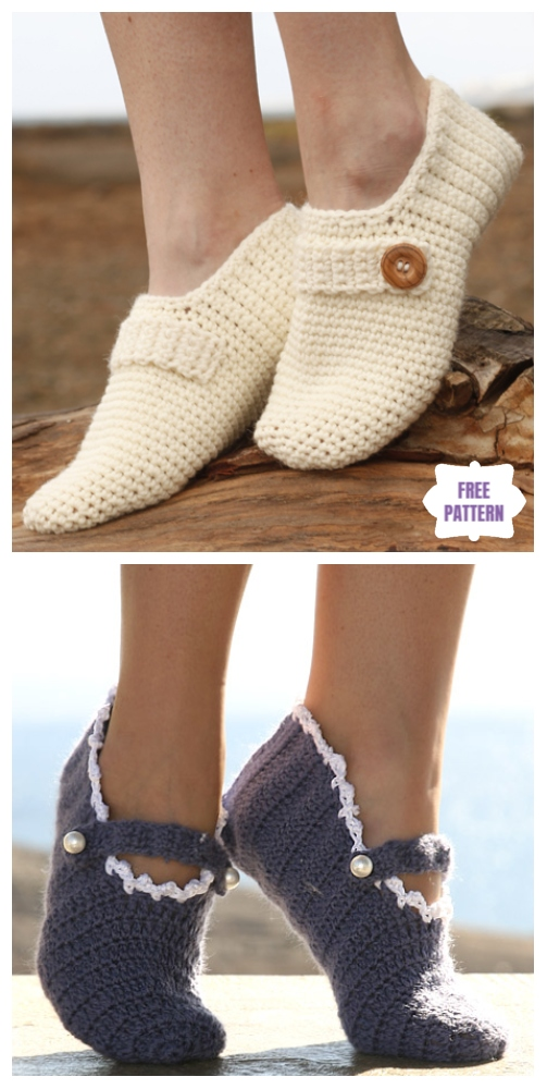 DIY Crochet Adult Slippers Pattern Round Up- Crochet Drops Designs Slippers Free Patterns