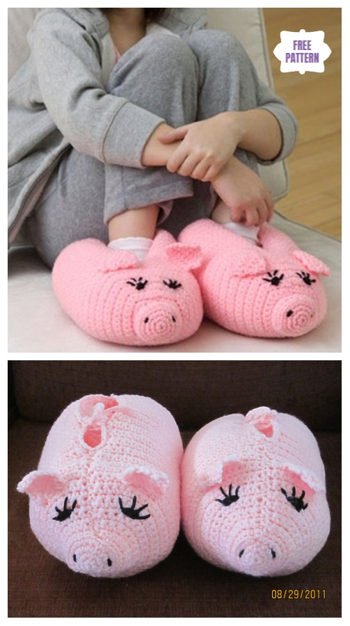 DIY Crochet Adult Slippers Pattern Round Up- CrochetPudgy Piggy Slippers Free Pattern