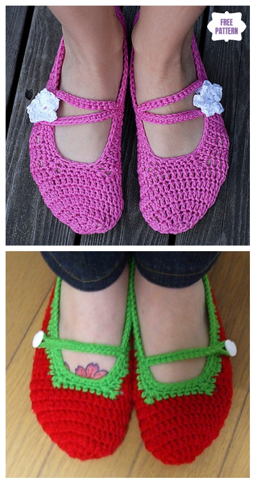DIY Crochet Adult Slippers Pattern Round Up- Crochet Women Mary Jane Slippers Free Pattern