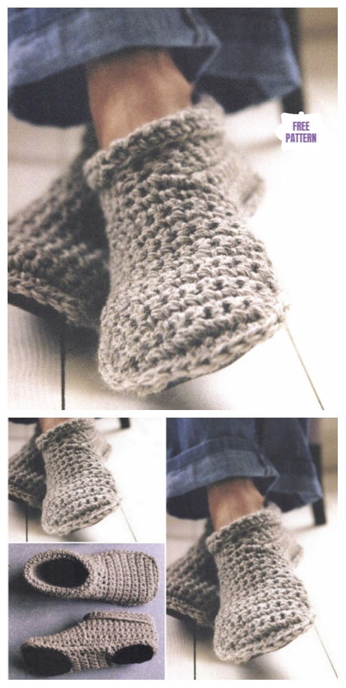 DIY Crochet Adult Slippers Pattern Round Up- Cozy Crocheted Slipper Boots Free Pattern