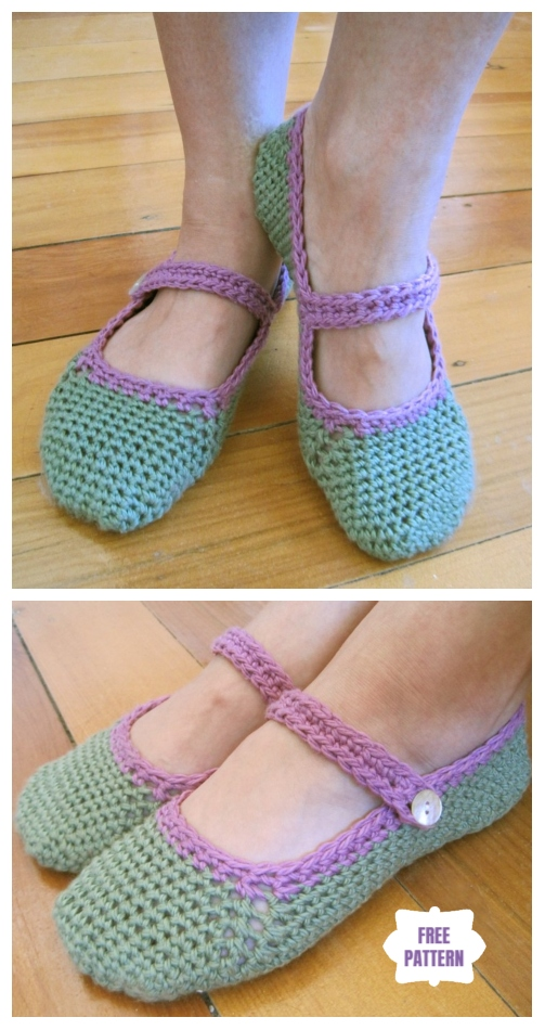 DIY Crochet Adult Slippers Pattern Round Up- Crochet Women Mary Jane Slippers Free Pattern