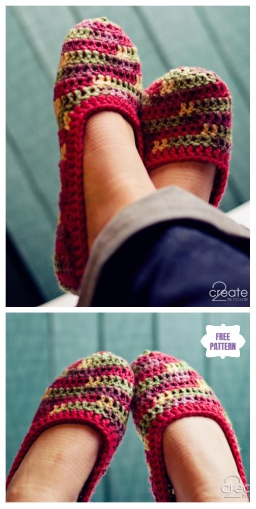 DIY Crochet Adult Slippers Pattern Round Up- Crochet Basic Slippers Free Pattern
