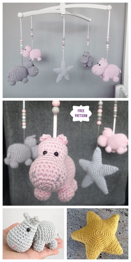 Amigurumi Hippo Mobile Free Crochet Patterns